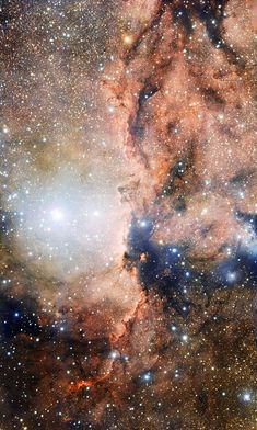 NGC 6193 and NGC 6188 ~ At the center left of the image is the open star cluster NGC 6193, containing around thirty bright stars and forming the heart of the Ara OB1 association. The Rim Nebula, or NGC 6188, is visible to the right of the cluster. This is the most detailed view of this region yet achieved. (ESO VLT Survey Telescope)