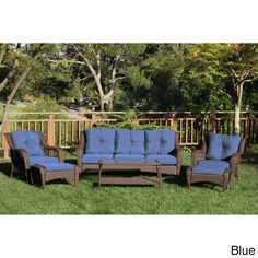 Jeco 6-piece Resin Wicker Patio Conversation Set (Blue Cushions), Size 6-Piece Sets, Patio Furniture (Steel)