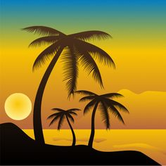 Tropical Beach Sunset Vector Scene - http://www.welovesolo.com/tropical-beach-sunset-vector-scene/