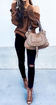 Brown off shoulder sweater