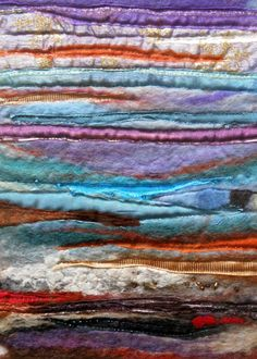 Greeting Card from Original Wet Felted Art - Beach Sea Abstract Beads Felt Art Picture Card