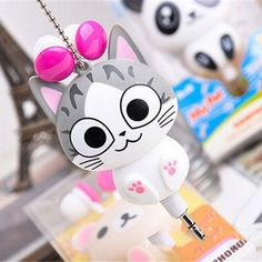 Cute Kawaii Cheese Cat, Bear Panda Cartoon Retractable MP3 MP4 Earphone for Samsung HTC Xiaomi for IPhone 5 5s 6 6s plus