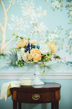 Bridal Tea Antique Birdcage Floral Arrangement
