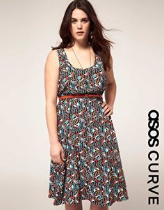 ASOS curve: exclusive midi dress in multicolor (has an amazing back, too)