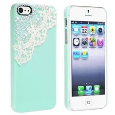 eForCity Snap-on Case Compatible with Apple® iPhone® 5, Mint Green with Lace Pearl:Amazon:Cell Phones & Accessories