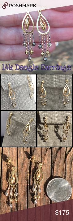 """14k yellow & white gold beautiful dangle earrings Beautiful 14k Yellow & White Gold Diamond Cut, Dangle Earrings. Measures 1.75"""" long x 0.50"""" wide. Weight 3.15 grams. Backs are marked 14k. These earrings are in great condition, amazingly pretty, shiny & can be dressed up or down. Would also make a great gift for someone special! Thanks for looking. Please ask all ?'s b4 purchase. I ship same day. Please make REASONABLE offer using offer feature only. No low ball or trade plz. Buy w…"""