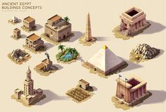 Ancient Egypt - Buildings concepts by rainerpetterart on DeviantArt Ancient Egypt Clothing, Ancient Egyptian Art, Ancient History, European History, Ancient Aliens, Ancient Greece, American History, Minecraft Architecture, Architecture Art