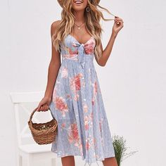 Conmoto Sexy Strap V Neck Midi Dress Women 2019 Summer Floral Print Backless Beach Party Dress Female Plus Size Dress Vestidos Sexy Dresses, Casual Dresses, Girls Dresses, Dress With Bow, The Dress, V Neck Midi Dress, Summer Dresses For Women, Sundresses Women, Girly Outfits