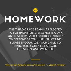 Use CANVA to Create a most excellent statement about HOMEWORK POLICY  (via EE elementary) No Homework Policy, Back To School Night, Albert Einstein, Third Grade, Encouragement, Technology, This Or That Questions, Live, Reading