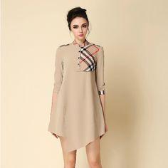 OL Style Stylish Plaid Color Contrast Western Dresses For Women Kakhi