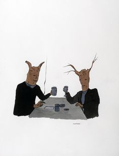 Marcel Dzama, Untitled (Two Trees With Coffee)