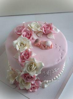 Fondant Flower Cake, Fondant Baby, Fondant Rose, Baby Boy Cakes, Girl Cakes, Girl Baby Shower Cakes, Cake Decorating With Fondant, Cake Decorating Tips, Beautiful Cake Designs