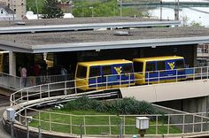 WVU students using the PRT to get around on the campus.