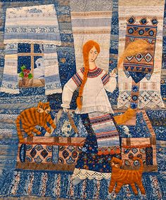 RussianSpinner: The charming Russian-themed quilt above, titled 'The Spindle of Fate is Circling', by Galina Fedyukina, Svetlana Snigir, and Marianna Morozovais, was displayed at the Moscow Quilt Exhibition on Sept 23.