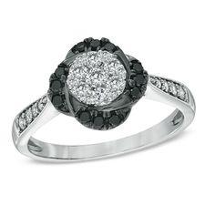 1/2 CT. T.W. Enhanced Black and White Diamond Flower Frame Ring in 10K White Gold! It looks like a flower!