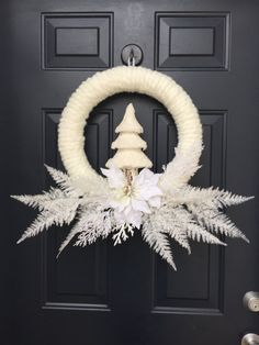 White Christmas Wreath Flocked Christmas Wreath by PinkLimeWreaths                                                                                                                                                      More