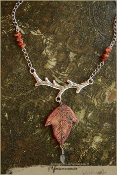 Autumn leaf Twig necklace woodland with carnelian by Vocisconnesse