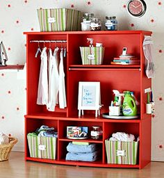 The Domestic Curator: REINVENT, REPURPOSE & RECYCLE: Entertainment Centers WHAT TO DO WITH THAT OLD UGLY ENTERTAINMENT CENTER CLUTTERING UP YOUR GARAGE! A Laundry Center.