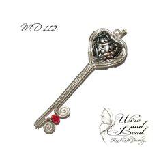 """""""Kulcs a szívemhez"""" ezüstözött medál 3D tibeti ezüst szívvel"""