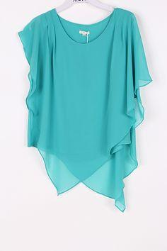 Aubrey Layered Chiffon Tunic in Teal Turquoise on Emma Stine Limited