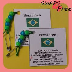 SWAPS4Free: Brazil Quick Fact Card World Thinking Day Girl Scout SWAPS - Free Printable!