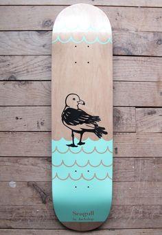 Seagull — Jackalop // Sophie B. Samson - Wildlife, Paint on wood Custom Skateboard Decks, Painted Skateboard, Skateboard Deck Art, Custom Skateboards, Skateboard Design, Skateboard Girl, Skate Girl, Skate Decks, Skate Style