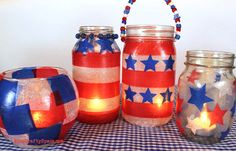 Red, White & Blue Lanterns craft - perfect decoration for Memorial Day or of July Happiness is Homemade Mason Jars, Mason Jar Crafts, Patriotic Crafts, July Crafts, Patriotic Party, 4th Of July Party, Fourth Of July, Lantern Craft, Recycled Jars