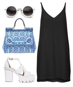 """""""Edgy #6"""" by hippizza ❤ liked on Polyvore featuring Topshop, Dolce&Gabbana, blueandwhite, black, Blue and edgy"""