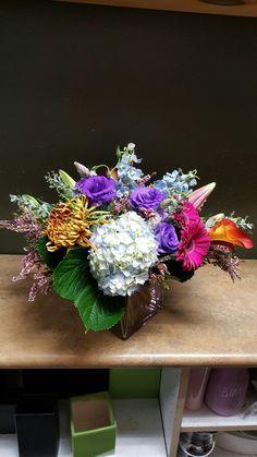 Pink bout purple flower arrangements