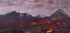 Volcanic Landscape Canvas Print by Tomcii Fine Art Prints, Canvas Prints, Canvas Art, Sci Fi Environment, Landscape Concept, Art Blog, Concept Art, Art Photography, Digital Art