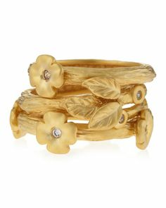 Floral-Station Triple-Stack Ring by Freida Rothman Belargo at Neiman Marcus Last Call.