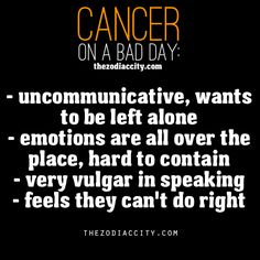 "Zodiac Cancer on a bad day. ""very vulgar in speaking"" HAHAHAHA that is soooooo true"