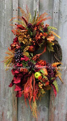 Lexington Harvest Wreath ~A New England Wreath Company Designer Original~ Elegant Fall Wreaths, Autumn Wreaths, Wreath Fall, Grapevine Wreath, Burlap Wreath, Fabric Wreath, Thanksgiving Wreaths, Fall Crafts, Grape Vines
