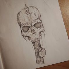 Demon skull... On a stick.  #Art #Horror #Demon #Skull #Artist #Drawing #Illustration #DailyArt #InstaDraw #InstaArt #InstaArtist #InstaGood #WorldofArtists #RochesterArtist #Pencil #Sketch #Doodle #Practice #Face #Portrait #Scary #Monster #Voodoo #PencilDrawing #Sketching #Horns