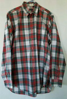 Burberry London Button Front Nova Plaid Shirt 100% Imported Cotton L/S Medium M #BurberryLondon #ButtonFront