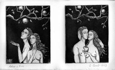 Adam and Eve. Etching
