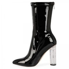 Kylie High Ankle Heeled Boots In Black Patent With Clear Heel (650 ZAR) ❤ liked on Polyvore featuring shoes, boots, ankle booties, heeled boots, clear-heel boots, black ankle booties, pointy toe booties and perspex heel boots