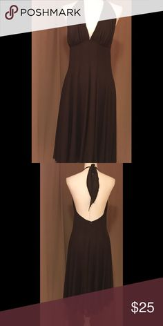 """💯 % Silk Brown Dress Size Medium Just right for holidays 🎉, overlay chiffon, halter top, lightly padded cups, back zipper, 15"""" armpit to armpit, 29"""" length from waist down.new never been worn,missing tag. Rubber Ducky Dresses"""
