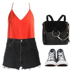 """Untitled #290"" by alibasicamina ❤ liked on Polyvore featuring Sans Souci, RE/DONE, Converse and Chloé"