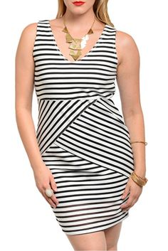 06e1dc9208b White Black Plus Size Classy Fitted Striped Sleeveless Date Dress at  DHStyles Women s Online Shopping Super Store with Discount and Cheap Prices.