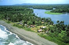 Tortuguero, Costa Rica. Caribbean sea on one side, lake on the other.