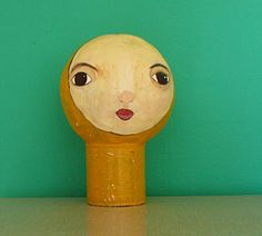 RESERVED - Joey. €70.00, via Etsy.  Paper mache hat/wig/earphone display or simply for your company at home. H 25 cm, W 16 cm, weight ca. 480g