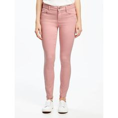 Old Navy Womens Mid Rise Rockstar Pop Color Ankle Jeans ($27) ❤ liked on Polyvore featuring jeans, petite, tea rose, petite skinny jeans, mid rise skinny jeans, white super skinny jeans, stretch skinny jeans and petite short pants