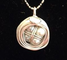 Beautiful Nest Pendant with four white pearls by BlessMyNestShop, $25.00