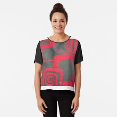 Chiffon Tops, Women's Clothing, Shapes, Clothes For Women, Printed, Awesome, People, Mens Tops, Stuff To Buy