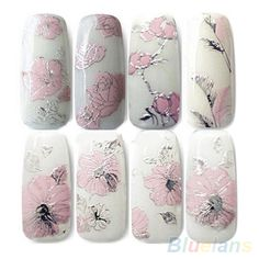 3D Nail Stickers Embossed Pink Flowers Design Nail Art Decal Tips Stickers Sheet Manicure  1QLE-in Stickers & Decals from Health & Beauty on Aliexpress.com | Alibaba Group
