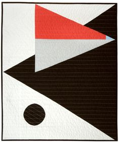 Small quilt for crib, lap or wall. Bold, geometric design with overlapping triangles and a single contrasting circle. Black and white with a bit of sky blue, coral (strawberry) and silver grey. All cotton materials.Roughly 30 x 36 Machine pieced and quilted. Hand finished binding. Machine wash and dry (gentle, cold and low. or lay flat to dry). International shipping / custom colors available.  Adult/larger sizes available