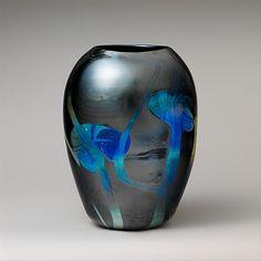 Vase - Designer: Designed by Louis Comfort Tiffany (American, New York New York) Maker: Tiffany Furnaces Date: ca. Louis Comfort Tiffany, Tiffany Art, Tiffany Glass, Antique Glass, Antique Art, Art Nouveau, Pots, Pottery Vase, Glass Design