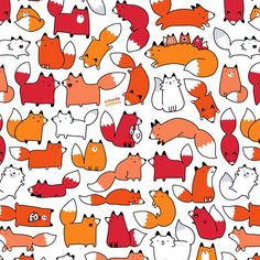 キラキラ DOODLES — Made a kawaii pattern of my cute Fox doodle...