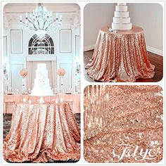 30 Off Year Round Rose Gold Sequin Tablecloth Wedding Cake Tablecloth for sale online Wedding Tablecloths, Wedding Linens, Wedding Cake Stands, Cool Wedding Cakes, Wedding Tables, Wedding Cupcakes, Wedding Reception, Sequin Wedding, Rose Wedding